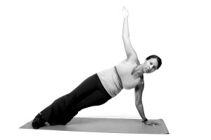 Amy demonstrating a Pilates exercise