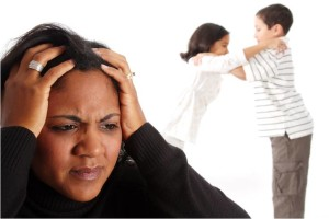 mother dealing with stressed children