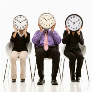 Three People sitting thinking about managing time