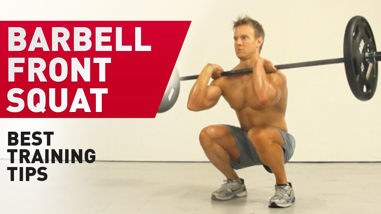 Front squatting with a barbell. Front squats with dumbbells 97